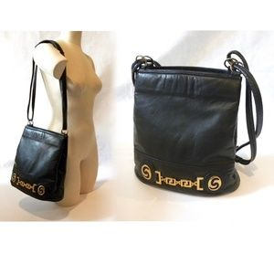 VTG 70s Black Leather Bucket Bag Gold Accents CHIC